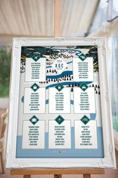 mountain wedding ski resort seating chart vanillaretro   50+ Amazing Mountain Wedding Ideas http://emmalinebride.com/rustic/mountain-wedding-ideas/