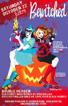GSRD Roller Derby Bout poster by ..... We could do something like this for our Halloween bout