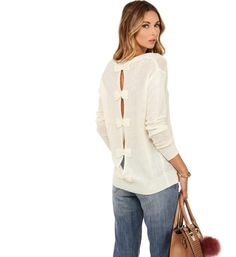 Ivory Take a Bow Long Sleeve Sweater at WindsorStore