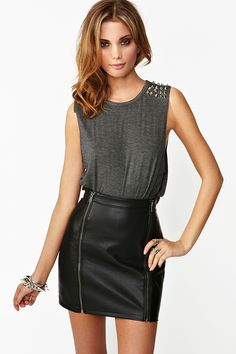 nasty gal. spiked muscle tee and leather skirt.  fashion Tee Shirt Designs, 45c04cc3bdc0