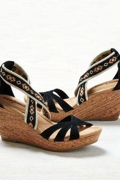 272e77e0a7 AEO Minnetonka Drew Wedge Sandals, Women's, Size: 6, Black Sock Shoes,. American  Eagle Outfitters