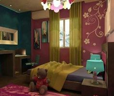 I love this bedroom. I like the colors and everything in it.
