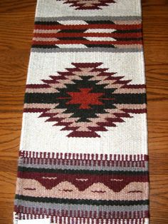 """A quality handwoven wool table runner. Classic southwestern design. 10x80"""" with tassled corners. $37.50  See our full line of southwestern / Native American design runners in our ebay store! #tablerunner #southwestern #homedecor"""