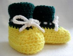 Green and Yellow Booties Holiday SALE  541SL by Pepperbelle, $12.00 - Perfect for little Packers fans