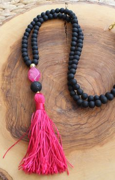 Black Beaded Tassel Necklace Long Beaded by lizaslittlethings