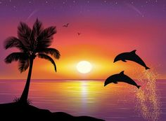 Sunrise Drawing Oil Painting Pictures Pictures To Paint Easy Watercolor Watercolor Paintings Silhouette Painting Dolphin Drawing Dolphin Painting Easy Drawings Dolphin Painting, Dolphin Art, Painting & Drawing, Beach Sunset Painting, Sunset Beach, Drawing Sunset, Paradise Painting, Sunset Art, Silhouette Painting
