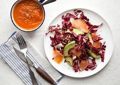 Butternut Squash Tomato Soup with Avocado Radicchio Salad