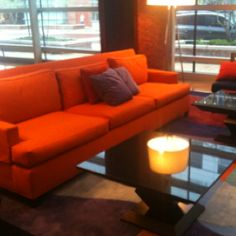 Super orange sofa at the Hilton Baltimore