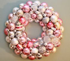 Pink Christmas Wreath, Vintage Ornaments