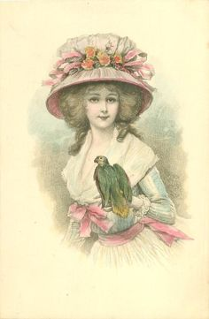 half length study of girl in old style dress with large hat looking front with parrot on her left arm