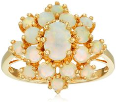 18k Yellow Gold Over Sterling Silver Created Opal Cluster Ring, Size 7 ** You can find out more details at the link of the image.
