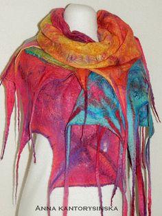 felted scarf shawl SUNSHINE handmade art to wear wool shawl, wool silk fibers scarf, rainbow scarf, wool scarf, eco fashion by Kantorysinska