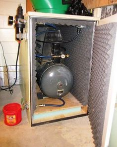 Build an Air Compressor Box. For the the great but too loud Air compressor. Diy Garage Storage, Garage Organization, Tool Storage, Organized Garage, Storage Ideas, Photo Storage, Organization Ideas, Garage Shelving, Shelving Units