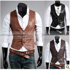 Men Fashion Faux Leather Slim Suit Vest Sleeveless Waistcoat 2 Colors MVEST022 in Clothing, Shoes, Accessories, Men's Clothing, Vests | eBay