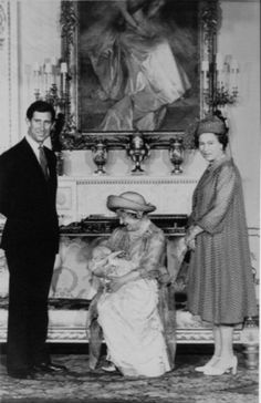The Queen Mother, baby William, Prince Charles and Queen Elizabeth II at William's christening.