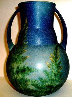 """Roseville Art Pottery WINDSOR frosted matte Blue Green 582- 9"""" vase w/ ferns"""