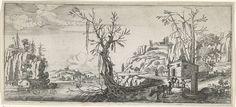 Landschap met reizigers met pakezels, Charles Cornelisz. de Hooch, Balthazar Moncornet, 1626