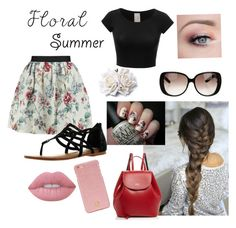 """""""Floral Summer """" by sarah-marsx ❤ liked on Polyvore featuring Raoul, Not Rated, Lime Crime, Gucci, Tory Burch and Frances Valentine"""