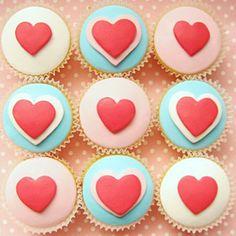 Fondant heart cupcake recipe for Valentine's Day