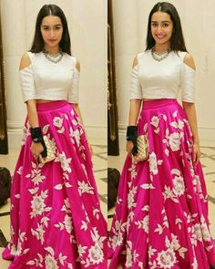 Shraddha Kapoor Pink Embroidery Satin Silk Party Wear Crop Top Lehenga With Dupatta Indian Wedding Outfits, Indian Outfits, Indian Lehenga, Lehenga Choli, Shraddha Kapoor Lehenga, Lehenga Skirt, Pink Lehenga, Lehenga Crop Top, Brocade Lehenga