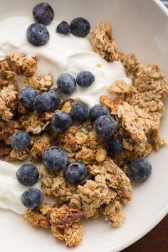 This banana walnut granola is made from roasted bananas and is the perfect spin on clumpy granola.