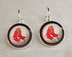 Boston Red Sox Earrings made from Baseball Trading Cards Great for Game Day #BostonRedSox