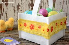 A few pieces of felt and a glue gun will have this felt Easter basket made without sewing a stitch!