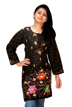 Black multi embroidery chiken kurti from lucknow. You can visit www.troverna.com to shop on cash on delivery