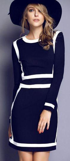 Contrast Trims Bodycon Dress ♥ {SO Jackie O .. love it}
