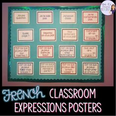 Students will have a much easier time staying in the target language when they have helpful prompts in the classroom. There are 37 posters with useful classroom expressions in a variety of pretty glitter colors. Includes Est-ce que. questions and inver Classroom Tools, High School Classroom, Classroom Signs, Classroom Ideas, French Teacher, Teaching French, French Classroom Decor, British Sign Language, French Language