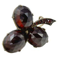 Victorian Bohemian Garnet Silver Shamrock Clover Brooch Pin |circa 1860's https://www.1stdibs.com/jewelry/brooches/brooches/