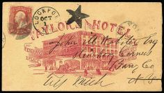 """5-Point Star of Lockport, N.Y. Complete bold strike of fancy duplex and """"Lockport, N.Y., Oct 1"""" cds forwarding in illustrated Taylor Hotel a..."""