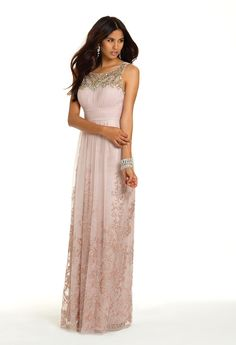 Glitter Illusion Neck Long Dress from Camille La Vie and Group USA