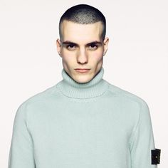 532B4 Turtle neck in winter comfort cotton.  Flat fell seams on shoulders and armholes. Ribbed neck, cuffs and bottom hem. www.stoneisland.com