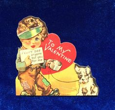 Wire Fox terrier dog valentine die cut card from the 1930's. Wonderful illustration. In beautiful condition. Looks almost new!