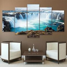 Buy Canvas Home Decor HD Prints Poster 5 Pieces Iceland Paintings Godafoss Waterfall Landscape Pictures Modular Wall Art Framework Home Decor Paintings, Home Decor Wall Art, Decor Room, Landscape Walls, Landscape Paintings, Landscapes, Canvas Art Prints, Canvas Wall Art, Artwork Wall