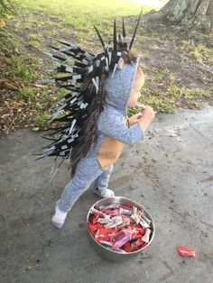 Porcupine toddler costume diy