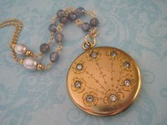 Antique Locket Edwardian Round Locket with Flowers and Blue Iolite and Pearl Chain  Perfect something old and something blue for a wedding!