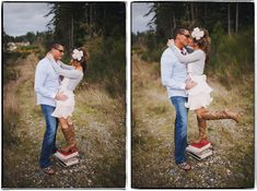 Cute idea for engagement photos of a tall guy and a short(ish) girl. By Benj Haisch.