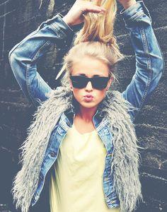Sunglasses, street style, fur, denim
