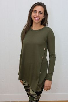 Knit Tunic With Wood Buttons - My Sisters Closet