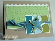 Star card, pretty colors. would also be cute red, white & blue card for soliders projects