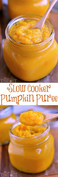 An easy step-by-step tutorial showing how to make Slow Cooker Pumpkin Puree | MomOnTimeout.com