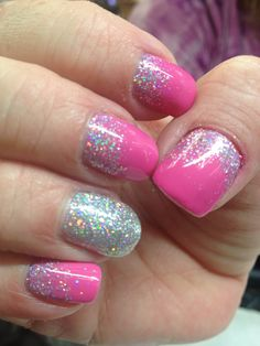 CND Shellac pink glitter reverse French