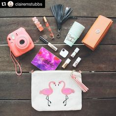 Awesome #pursedump - #Repost @clairemstubbs  New post on the blog!  Check out what I keep In My Bag at all times during the summer months! Link is in Bio! #tiledit  www.thetileapp.com