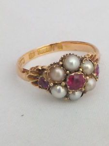 Fine Victorian Ruby and seed Pearl 15ct gold cluster ring | eBay
