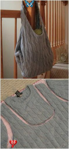 Thrift Store Diy Clothes, Thrift Store Fashion, Thrift Store Crafts, Reuse Old Clothes, Diy Bags From Old Clothes, Thrift Stores, Sweater Refashion, Old Sweater Diy, Alter Pullover Diy