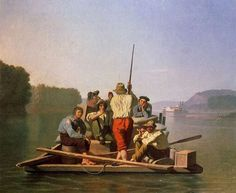 George Caleb Bingham - Lighter Relieving a Steamboat Aground