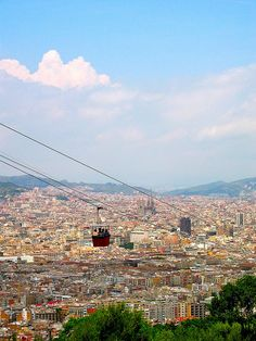 Barcelona, Spain.  Montjuic, they've closed the cable cars in now, I'm glad I got to ride it when they were open,  it's wonderful