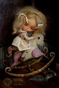 """Antique Rocking Horse ~ Sweet baby lilac & white edition Designed & handmade by Rebeca Cano ~ """"Cookie dolls"""" www.facebook.com/... © All rights reserved"""